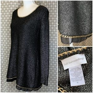 SOFT SURROUNDINGS Black Silver Chain Tunic Sweater